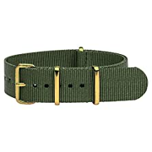 buy 24Mm Premium Nato Yellow Gold Nylon Solid Army Green Replacement Watch Strap Band