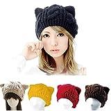 ネコ耳ニット帽 寒い冬も可愛く 手編み レディース 毛糸 編み込み かわいい ねこ耳 ブラウン