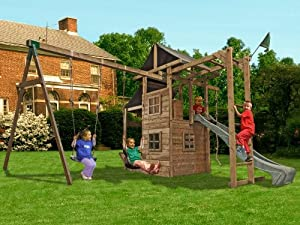 Dunster House ManorFort Stronghold Wooden Children's Outdoor Climbing Frame with Monkey Bars, Swings & Slide - Pressure Treated Timber