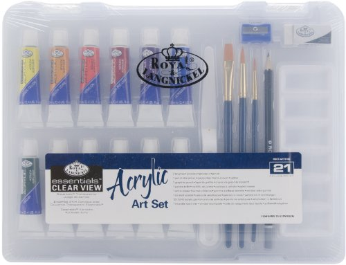 Clearview Small Acrylic Painting Art Set *** Product Description: Royal Brush-Royal Three Brushes; One Six-Well Plastic Palette; One Graphite Pencil; One Pencil Sharpener; One Palette Knife; And One White Eraser. All Pieces Come In A Convenient 9 ***