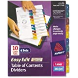 Avery  Ready Index Easy Edit Table of Contents Dividers, 10-Tab, 6 Sets (12173)