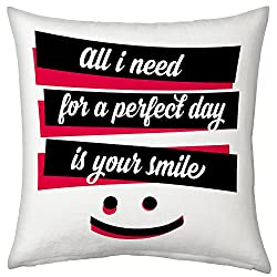 Valentine Gifts for Boyfriend Girlfriend Love Printed Cushion 12X12 Filled Pillow White Need Your Smile Gift for Him Her Fiance Spouse Birthday Everyday Gift