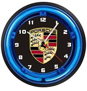 Porsche Logo 12 Inch Neon Wall Clock Free Usa Ship