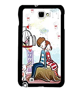 Love Couple 2D Hard Polycarbonate Designer Back Case Cover for Samsung Galaxy Note 2 :: Samsung Galaxy Note II N7100