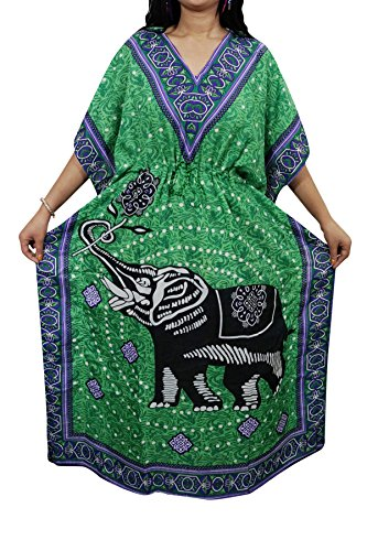 Indiatrendzs Womens Caftan Dress Animal Print Green Kaftan Nighty Dory at Waist Free Size  available at amazon for Rs.386