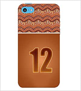 PrintDhaba Numerology Number 12 D-3645 Back Case Cover for APPLE IPHONE 5C (Multi-Coloured)