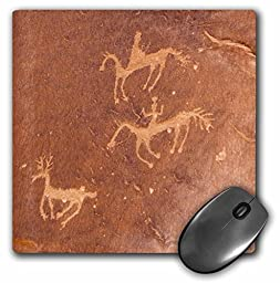 3dRose LLC 8 x 8 x 0.25 Inches Mouse Pad, Navajo Petroglyphs Showing Two Mounted Hunters Chasing a Deer (mp_45784_1)