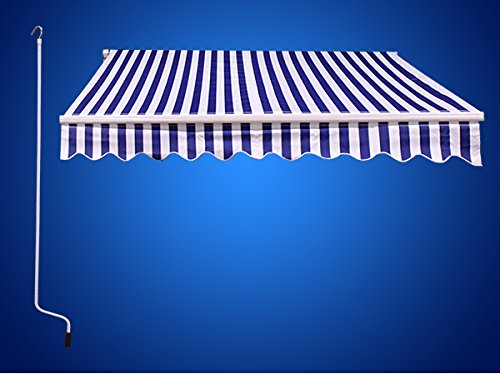 12'x10' Outdoor Patio Manual Retractable Sun Shade Canopy Awning Blue White