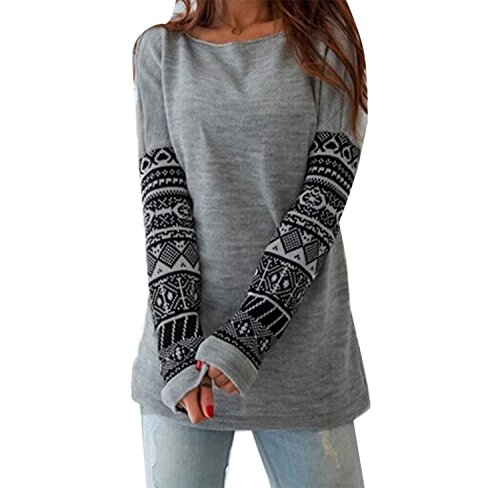 Minetom Donna Moda T-shirt Stampa Geometrica Manica Lunga Allentata Casuale Camicetta Maglietta ( IT 38 )
