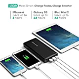 RAVPower 26800mAh 3-Port 5.5A iSmart Output Portable Charger Compact Power Bank External Battery Pack for iPhone, iPad, Samsung and More - Black