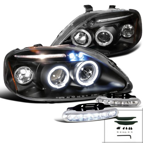 Civic Black Halo Projector Headlights W/ Led Daytime Fog Lamps