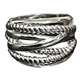 Designer Inspired 18k White Gold Plated Cable Twisted 16mm Wide Ring Valentine's Day Gift for Couples