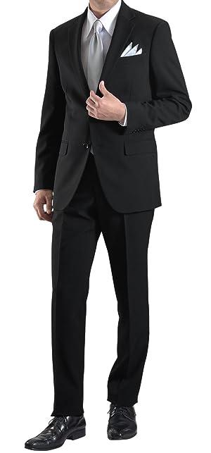 [MARUTOMI] フォーマルスーツ シングル 2つボタン オールシーズン アジャスター付 メンズ ブラックスーツ 礼服 喪服 冠婚葬祭 黒