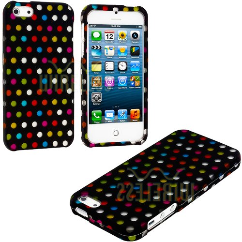 Mylife Rainbow Polka Dots Series (2 Piece Snap On) Hardshell Plates Case For The Iphone 5/5S (5G) 5Th Generation Touch Phone (Clip Fitted Front And Back Solid Cover Case + Rubberized Tough Armor Skin)