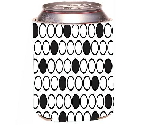 Rikki Knight Beer Can Soda Drinks Cooler Koozie, Inverted Black Polka Dots Design front-589021