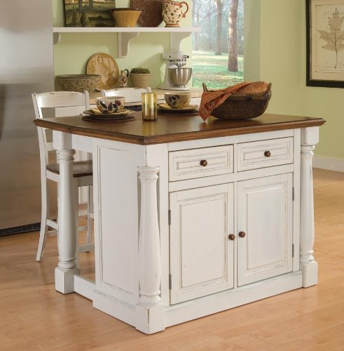 Cheap Home Styles 5020-948 Monarch Kitchen Island with 2 Stool, Antiqued White Finish (5020-948)