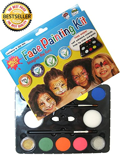 Face Painting Kit From Wacky Arts, Non Toxic, Waterbased, Easy to Use 16 Stencil design Kit, Face Paint Fda Safe Includes 8 Colors 2 Glitters, User Safety Guide and Design Manual for All Parties & Events