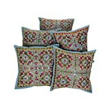 Rajrang Designer Cushion Cover Throw Pillowcase Cover 16 By 16 Inches Set 5 Pcs - B00RQDPAKO