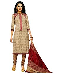 Shree Ganesh Light Brown Cotton Printed Unstitched Churiddar Suit with Dupatta