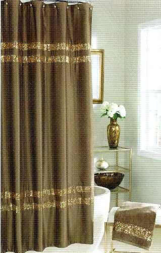 Croscill Sequin Shimmer Bronze Fabric Shower Curtain Sparkling Details