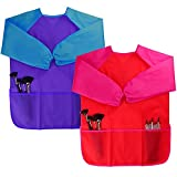 Dreampark 2 Pack Children Art Smock Kids Art Aprons Waterproof Long Sleeve 3 Roomy Pockets, Ages 2-6, Red Blue (Paints Brushes not Included)