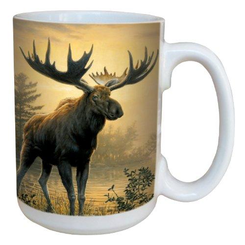 Tree-Free Greetings 79137 Golden Moose By James Hautman 15-Ounce Ceramic Mug With Full-Sized Handle, Multicolored