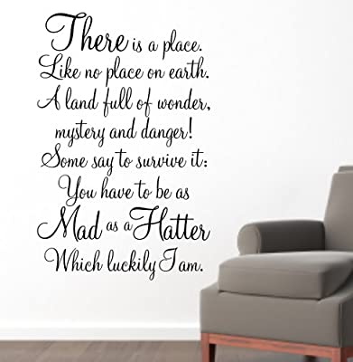 Alice in Wonderland Wall Art Sticker Quote - 'MAD AS A HATTER'