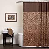 Lush Decor Leopard Shower Curtain, 72-Inch by 72-Inch, Brown