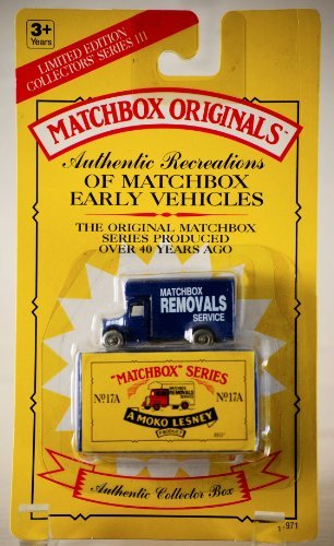 1993 - Tyco Toys Inc - Matchbox Originals - Authentic Recreations Matchbox Early Vehhicles - No.17A / Matchbox Removals Service - Blue Truck - Die Cast Metal - 1:64 Scale - Collectors Series III - MOC - Out of Production - Limited Edition - Collectible