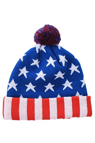 USA Beanie with Striped Cuff by Tipsy Elves - One Size