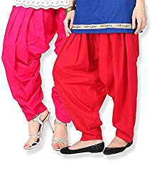 Shiva Collections pink and red cotton patiala salwar