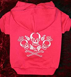 Crowned Crossbones Hoodie Sweatshirt Sweater Raspberry Small from HPD