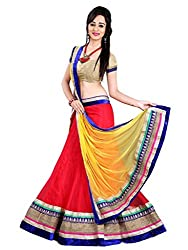 Yashvi Arts Woman's Designer Bridal Party Wedding Wear Collection Low Price Sale Offer Red Net & Raw Silk Ghagra | Lehenga Choli with blouse