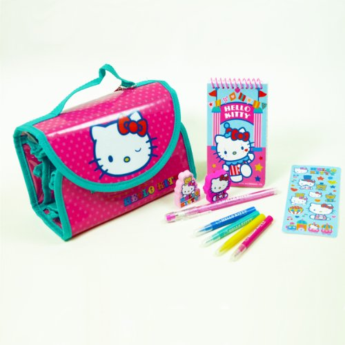 Hello-Kitty-10-Pc-Stationery-Set-Hello-Kitty-Roll-up-Bag-Hello-Kitty-Gift-for-Girls-Hello-Kitty-Arts-N-Crafts