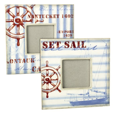 Grasslands Road Gift Boxed Wooden Nautical Photo Frame Assortment, 3 By 3-Inch, Set Of 4