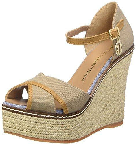 Trussardi Jeans 79S06349 Sandali con cinturino alla caviglia, Donna, Beige (05 Beige), 38