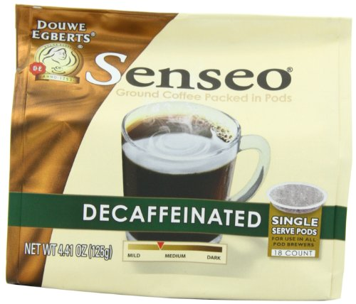 Senseo Decaffeinated Coffee, 18-Count Pods (Pack of 4)