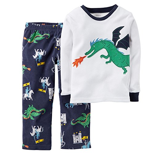 Carter's Little Boys' 2-Piece Cotton & Fleece Pajama Set (4T, Dragon)