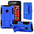 CellJoy® Nokia Lumia 520 (WILL NOT FIT LUMIA 521) Hard Case Protective Cover Skin [Future Armor] Ultra Fit Dual Protection Cover with Belt Clip Holster For Lumia 520 [Retail Packaged] (Cobalt Blue)