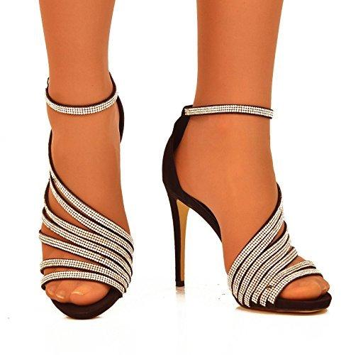 Fantasyshoes Women'S Rhinestone Strappy High Heel Evening Sandals Black 7 Us