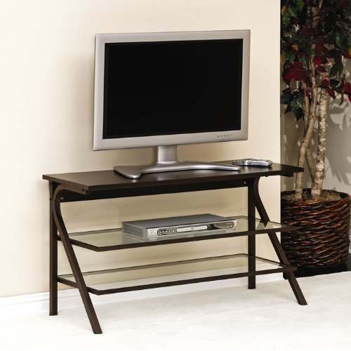 Sauder Akimbo Panel TV Stand in Bronze,Espresso,Clear Glass