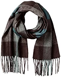 V Fraas Men\'s Buffalo Plaid Scarf, Hunter, One Size