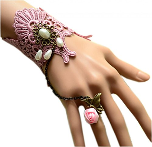 LUNA Womens Ladies Gothic Drop Pink Lace Bracelets Bangles Butterfly Rose Rings