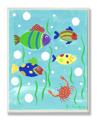 The Kids Room by Stupell Multi-color Fish and Crab Rectangle Wall Plaque