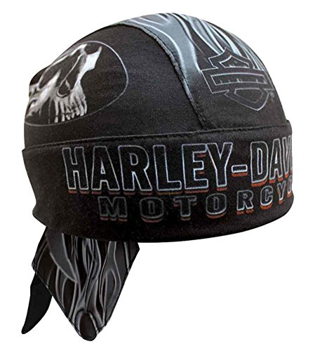 Harley-Davidson Men's Engulfed Flaming Skull Head Wrap, Moisture Wicking HW15290 (Harley Skull Cap compare prices)