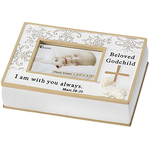 Dicksons Resin Photo Box, Beloved Godchild/White