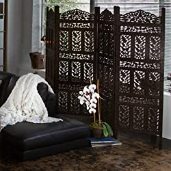 Flower Jali 4-Panel Screen in Weathered Black