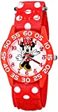 Disney Kids' Minnie Mouse Plastic Case watch, W001665, Printed Stretch Nylon Strap, Analog Display,  Red Watch