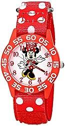 Disney Kids W001665 Minnie Mouse Plastic Case watch, Printed Stretch Nylon Strap, Analog Display, Red Watch