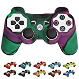 Skque?Silicone Soft Case Cover for Sony PlayStation 3 Controller, Dark Green & Purple